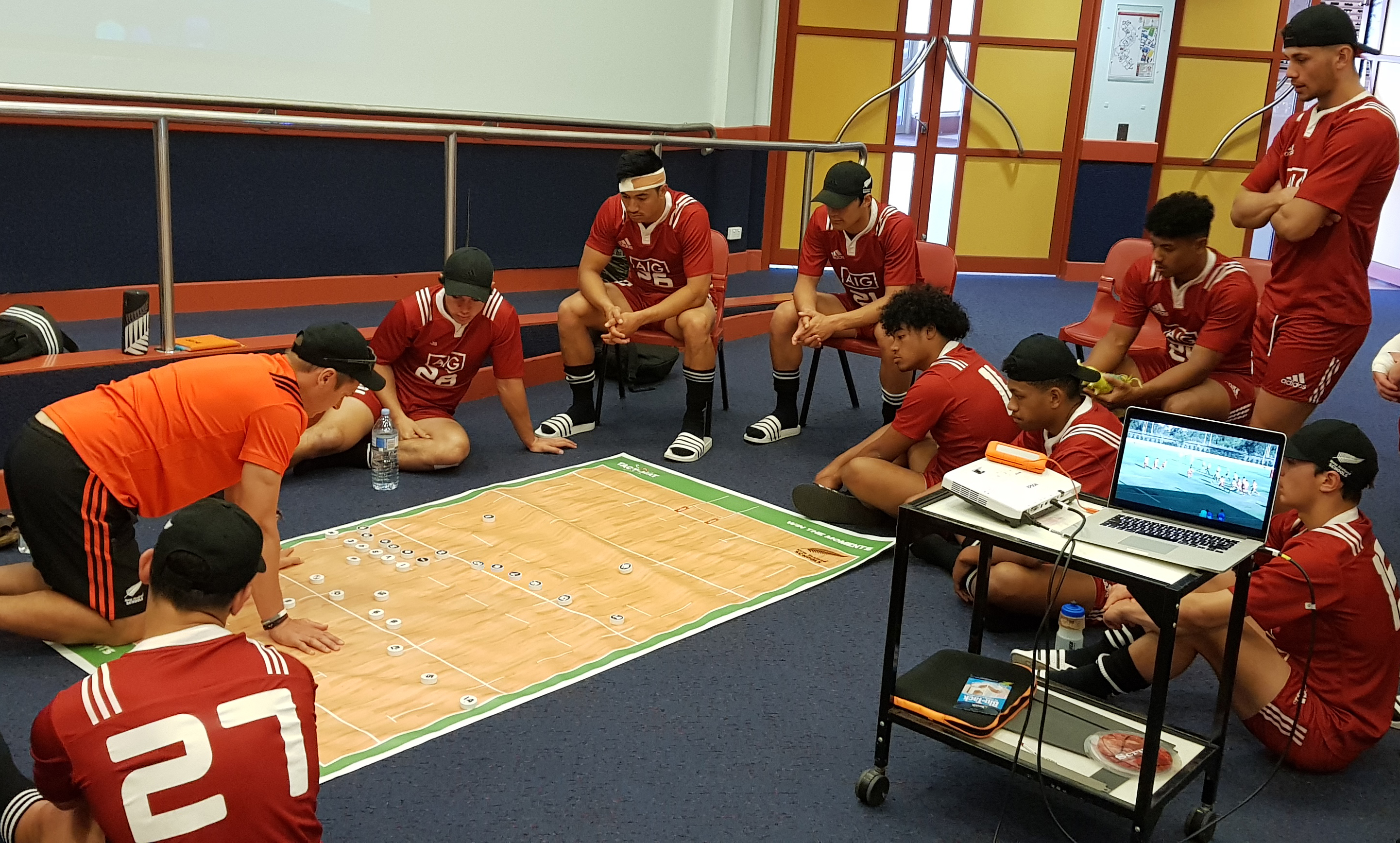 New Zealand Secondary Schools team using a customised TACT-MAT.